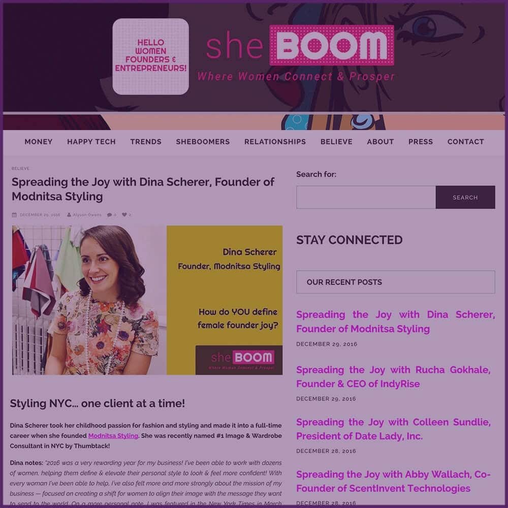 SheBoom Feature Article Spreading The Joy with Dina Scherer December 2016