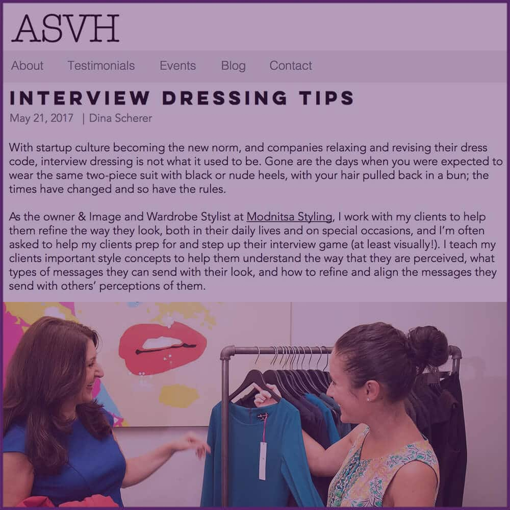 ASVH Interview Dressing Tips Guest Blog Post Article May 21 2017