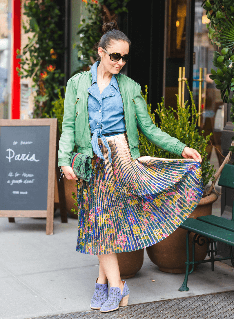 Anthro Pleated Skirt Denim Top Alice & Olivia Jacket by Modnitsa Styling