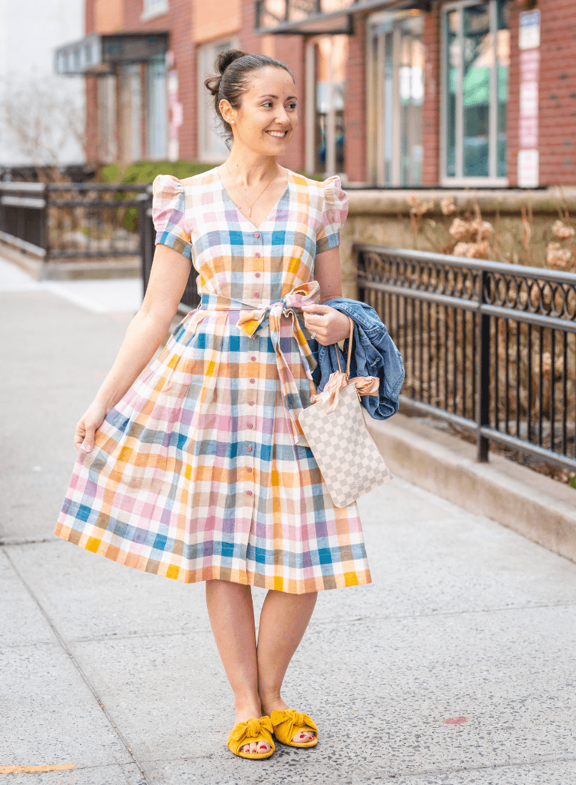 GMG Poppy Dress Tory Burch Slides LV Bag by Modnitsa Styling