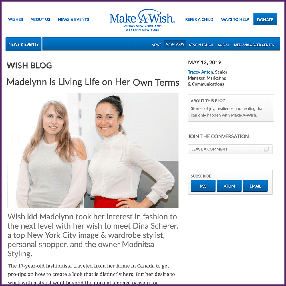 Make a Wish Foundation Blog Feature Madelynn May 13 2019