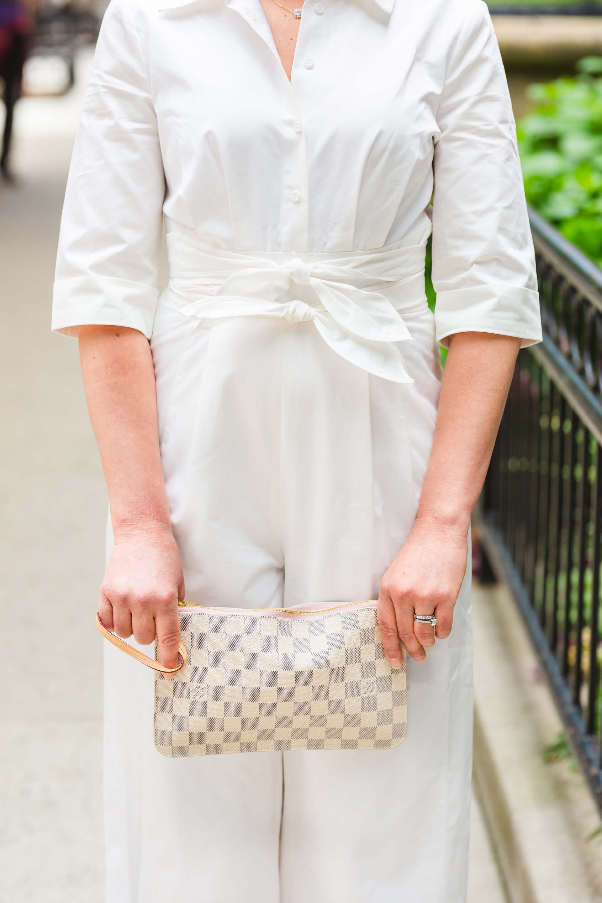 GMG White Jumpsuit Kingston Earrings LV Clutch Tory Burch Sandals Look by Modnitsa Styling