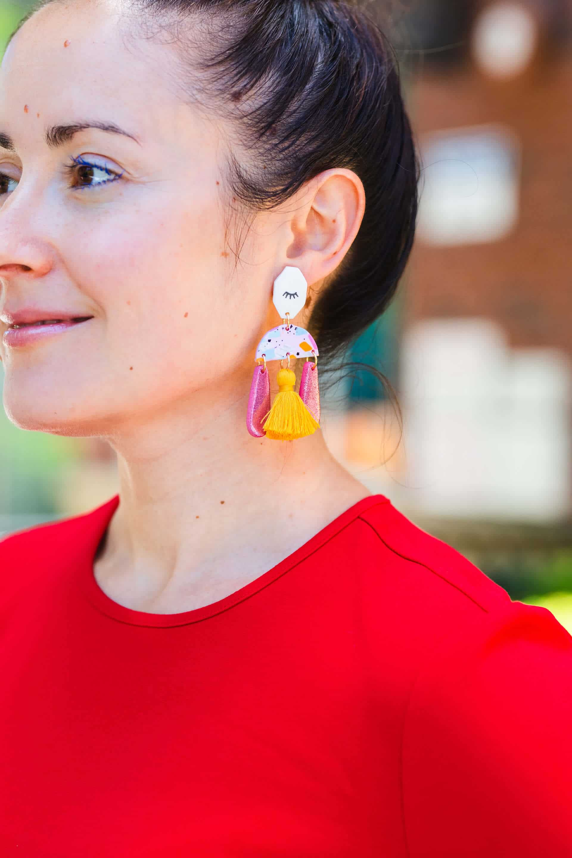 Rachel Parcell Red Sheath Kingston Earrings Jimmy Choo Shoes Look by Modnitsa Styling