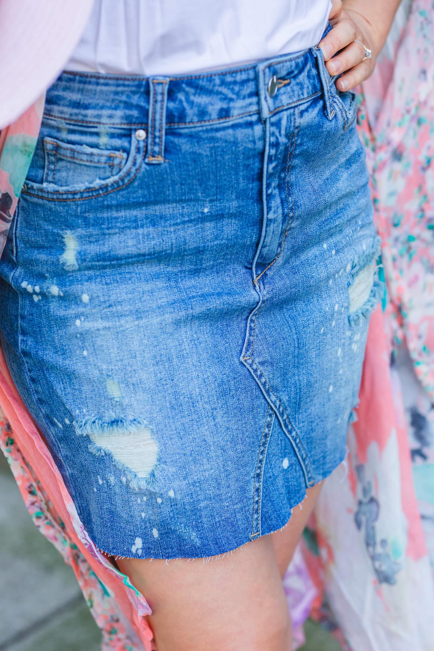 Joe's Jeans Denim Skirt Anthro Kimono Chloe Shoes Look by Modnitsa Styling