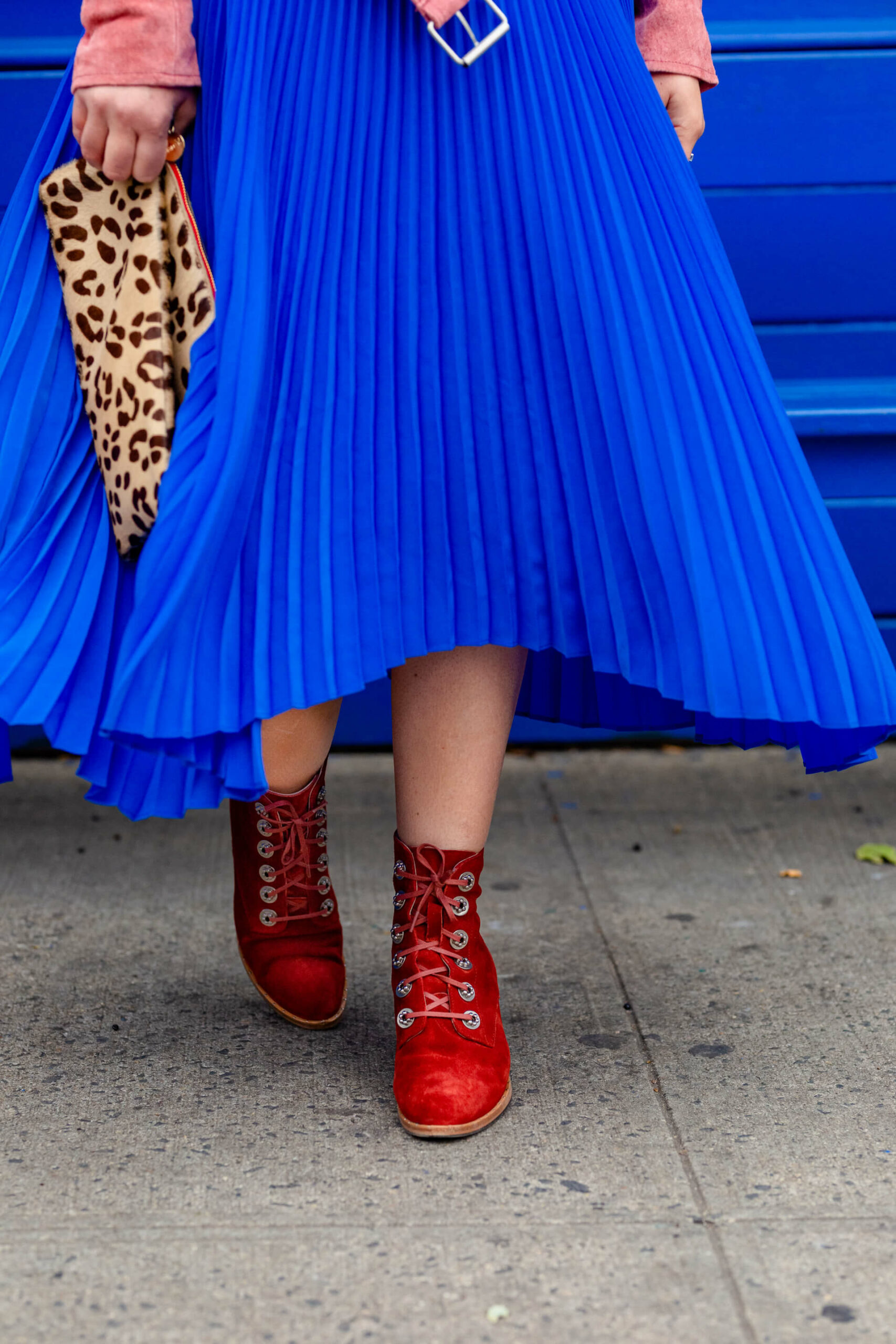 ALC Blue Dress with Suede Moto Look by Modnitsa Styling