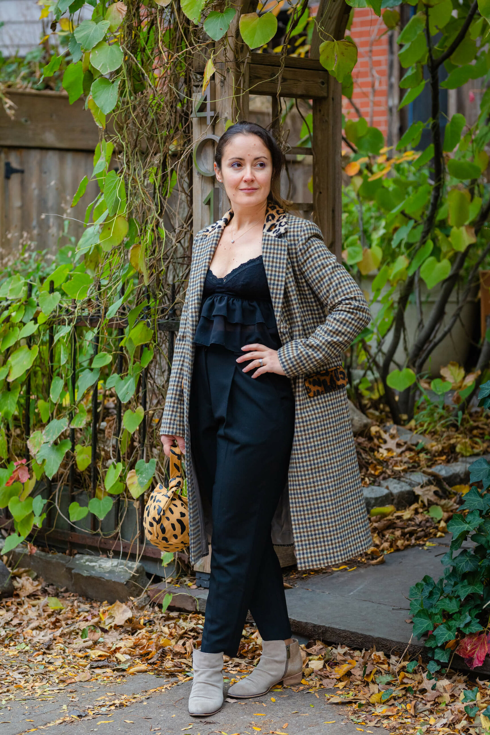Helene Berman Coat So Lindsi Cami ALC Pant Look by Modnitsa Styling