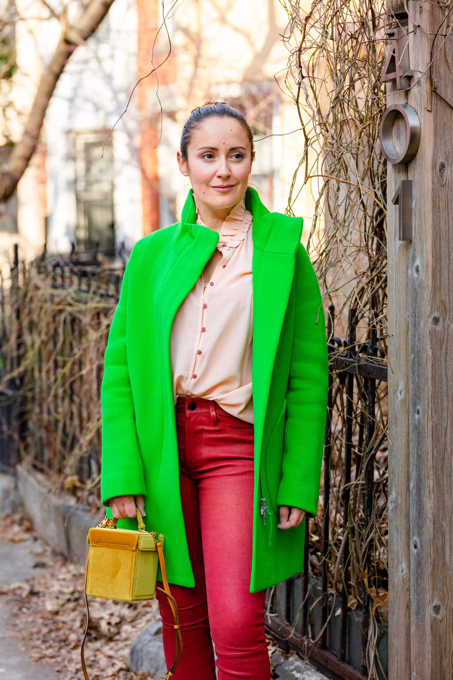 JCrew Coat Frame Leather Pants Sezane Blouse Mark Cross Bag Look by Modnitsa Styling