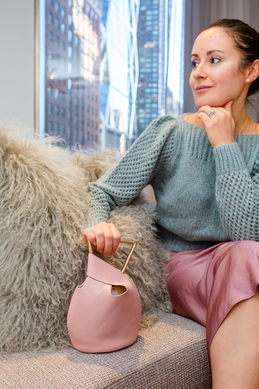 Pretty Winter Pastels Look Loveshack Fancy Sweater Free People Skirt Coclico Shoes by Modnitsa Styling