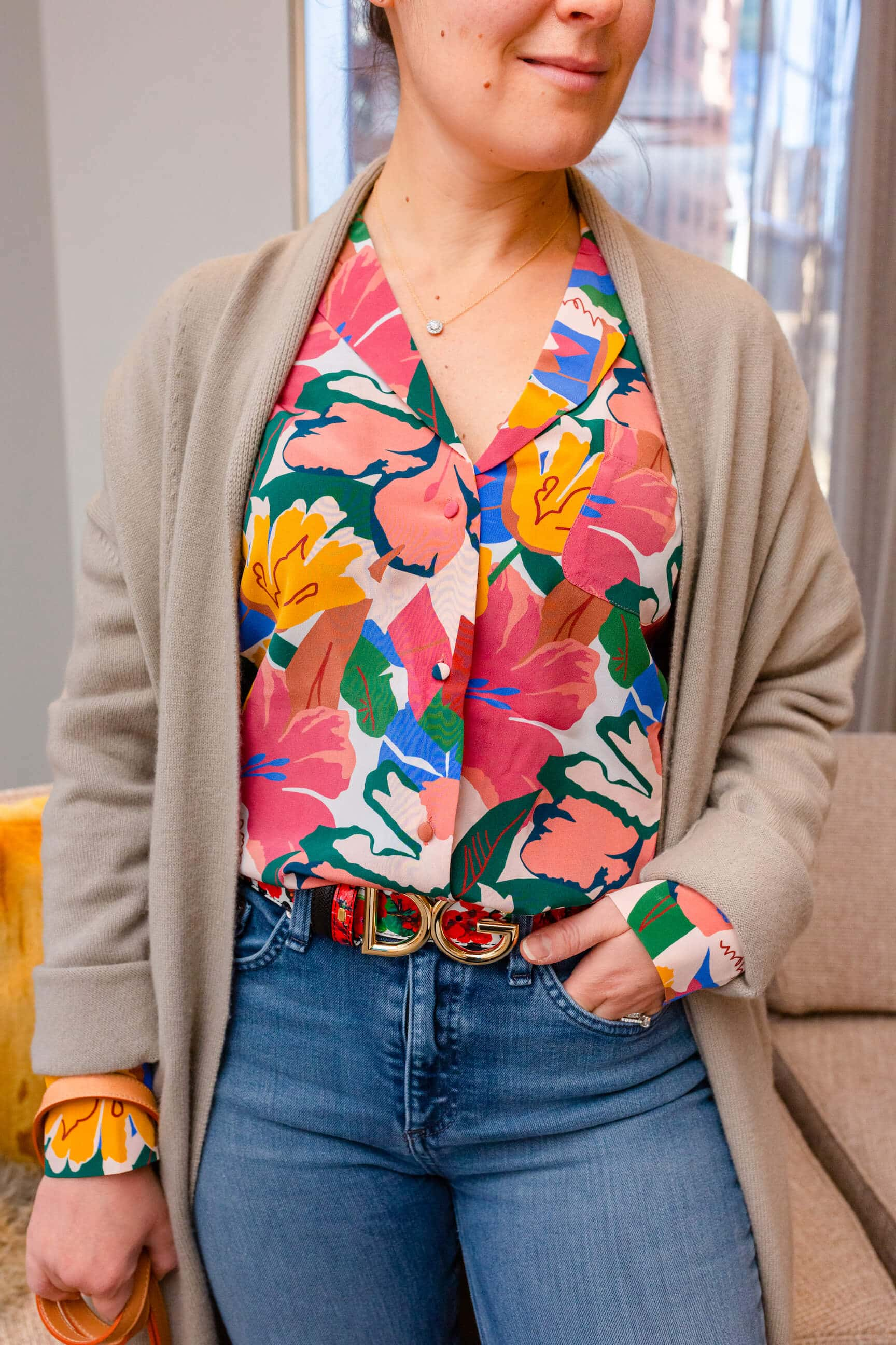 Sezane Blouse DG Belt Rag Bone Jeans Look by Modnitsa Styling