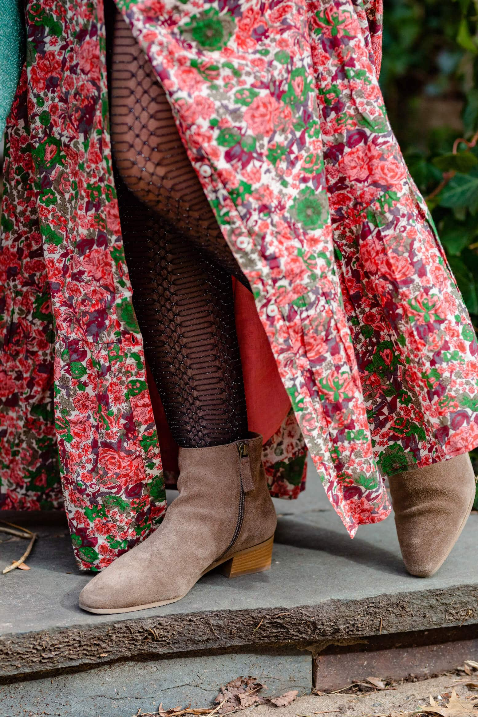 Sezane Floral Maxi Aquatalia Booties Elephant Clutch Free People Faux Fur Coat Look by Modnitsa Styling