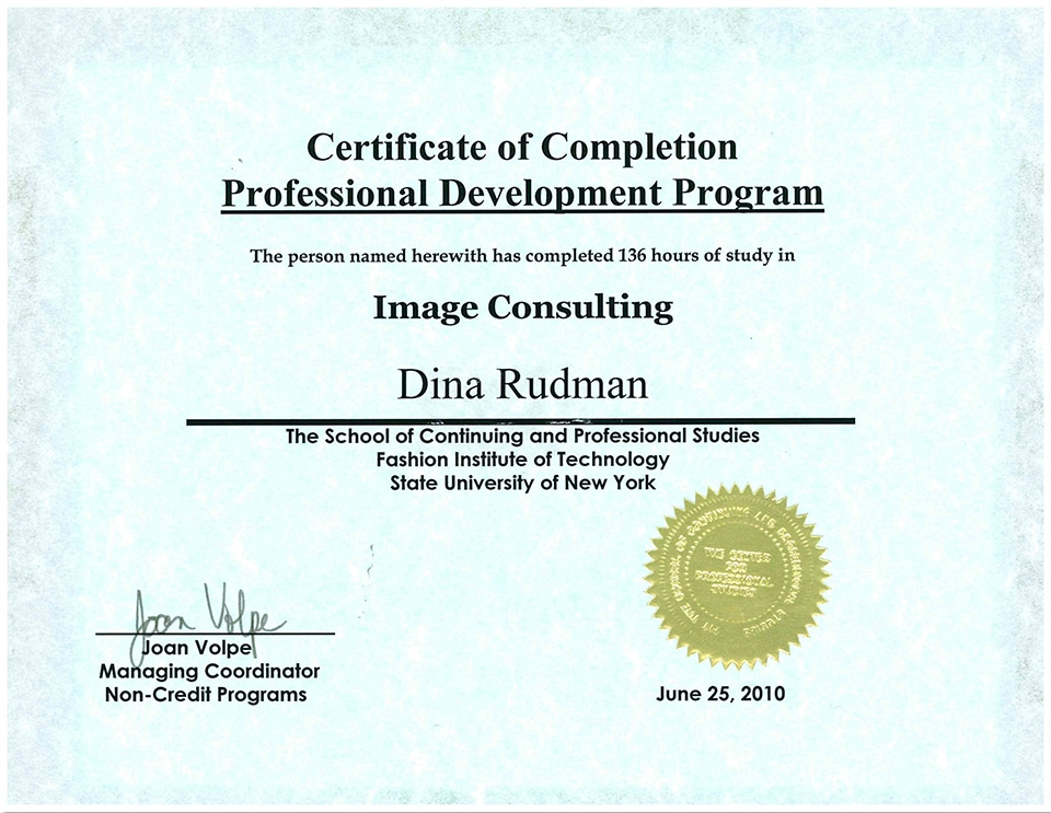 Fashion Institute of Technology Certfication in Image Consulting